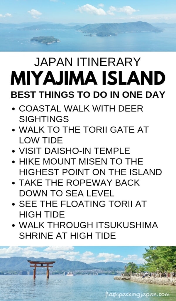 List of best things to do on Miyajima island in one day itinerary. Backpacking Japan itinerary.