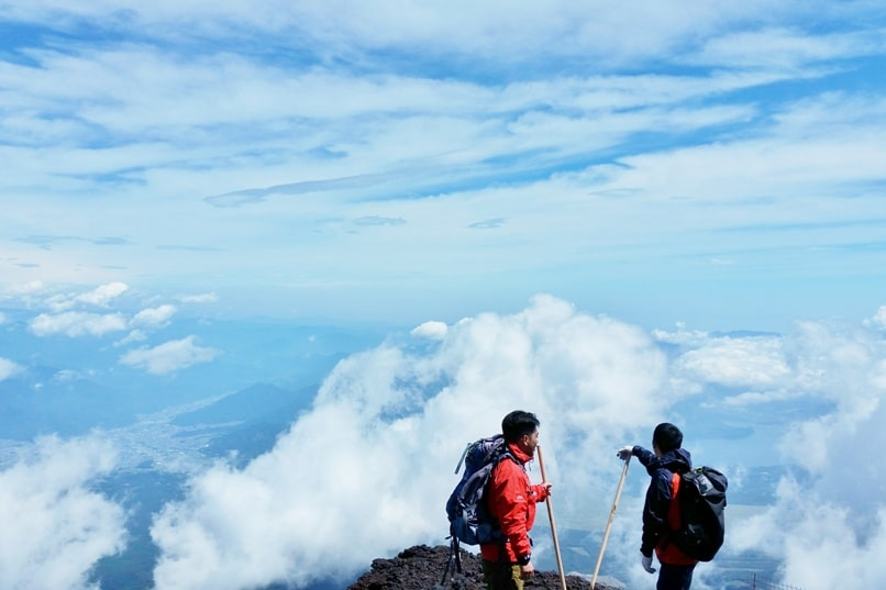 How much does it cost to climb Mount Fuji? Yoshida Trail in the clouds. Backpacking Japan.