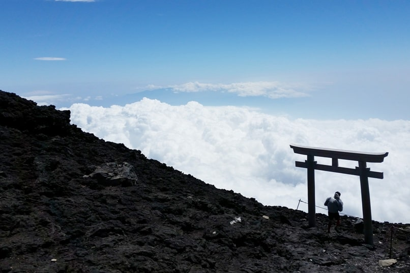 How much does it cost to climb Mount Fuji? Trail summit shrine near Gotemba Trail. Highest peak in Japan. Backpacking Japan