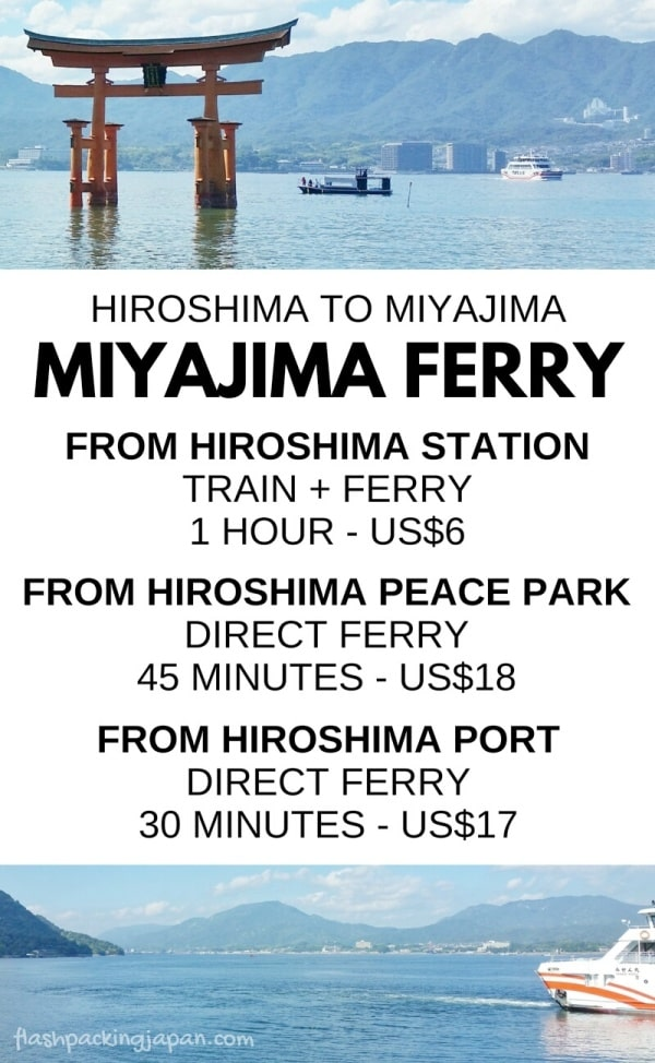 Hiroshima to Miyajima ferry: Public transportation in Japan. From Hiroshima station with JR pass. From Hiroshima peace park. From Hiroshima Port. How much time. How much do tickets cost. What are the ferry timings, schedule? Backpacking Japan itinerary.