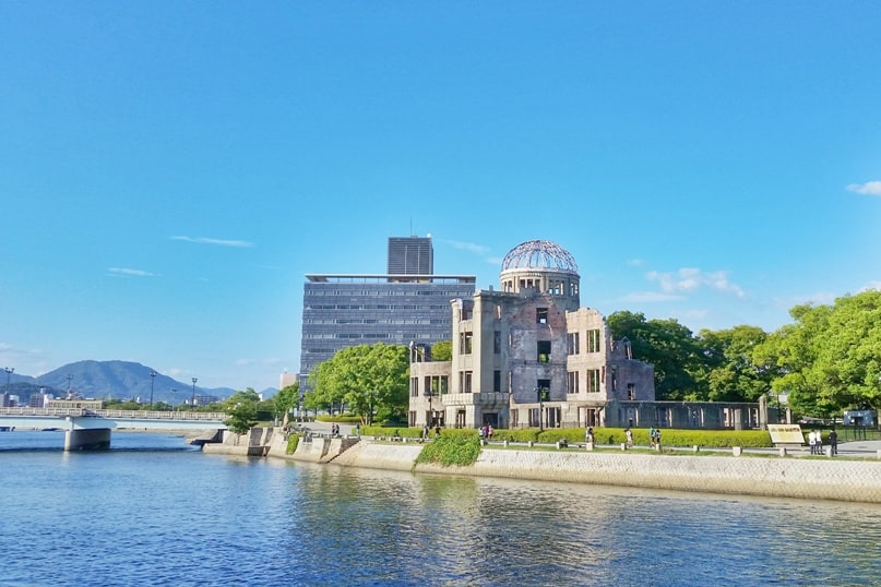 Hiroshima to Miyajima with JR pass: Hiroshima atomic bomb dome at peace memorial park. Backpacking Japan.