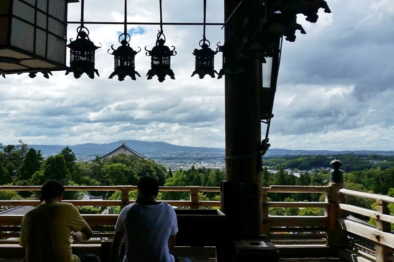 Places to visit in Nara in one day itinerary: Sangatsudo temple with Nara city views. Backpacking Japan