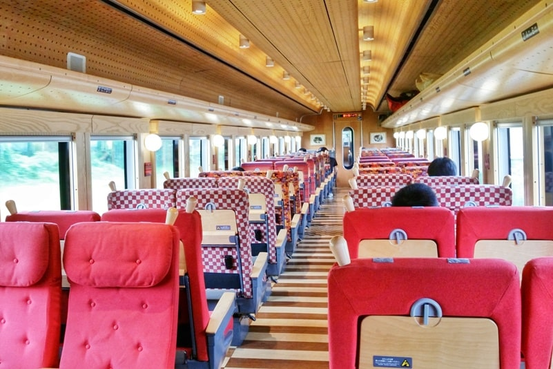 Things to do in Kawaguchiko in one day itinerary. Fujikyu Mt Fuji View express train to Kawaguchiko from Tokyo day trip. Get on at Otsuki. Backpacking Japan