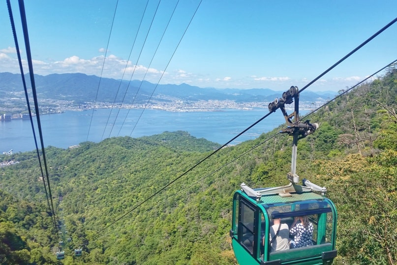 Best things to do on Miyajima Island in one day itinerary: Mount Misen ropeway. Backpacking Japan.