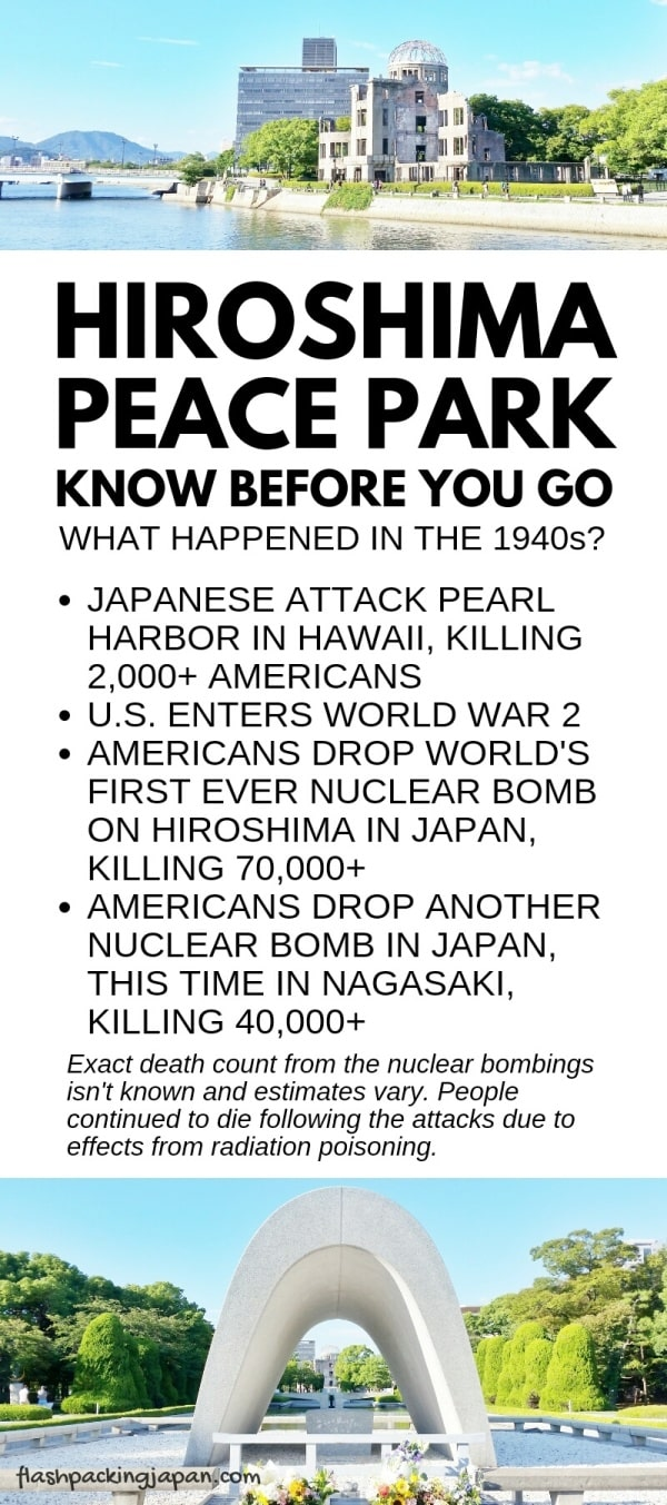 Know before you visit Hiroshima Peace Memorial Park, Japan. Quick facts about Hiroshima, Nagasaki, Pearl Harbor Hawaii. World War 2 nuclear atomic bombings. Backpacking Japan