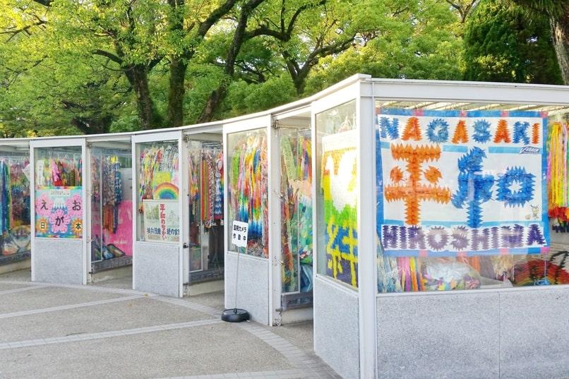 Sadako Sasaki story, children's peace monument. Paper cranes, origami. Visit Hiroshima Peace Memorial Park: Nagasaki and Hiroshima peace after atomic bombings. Backpacking Japan.
