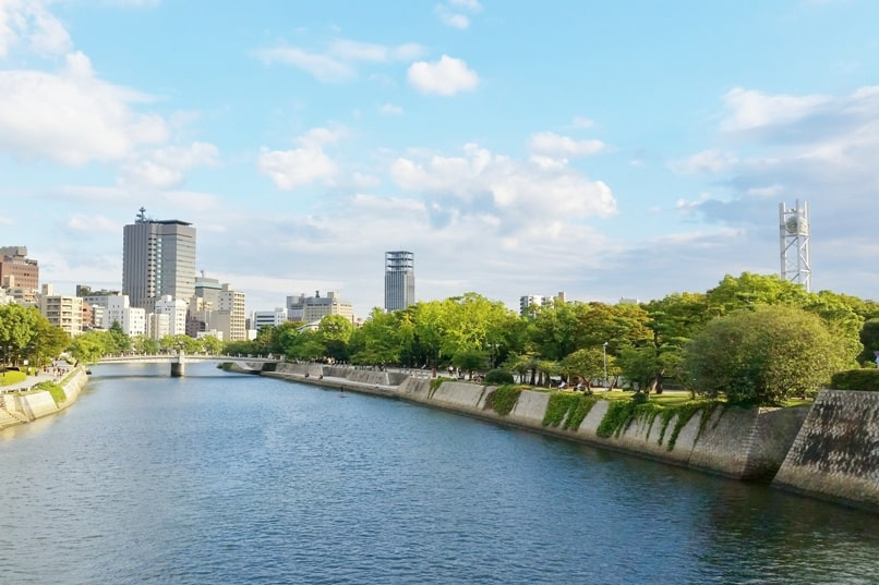 Things to do in Hiroshima peace memorial park visit. Peace clock tower. Backpacking Japan.