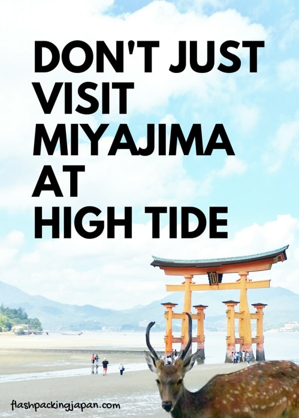 Visit Miyajima high tide times: Things to do on Miyajima at low tide in one day. Backpacking Japan