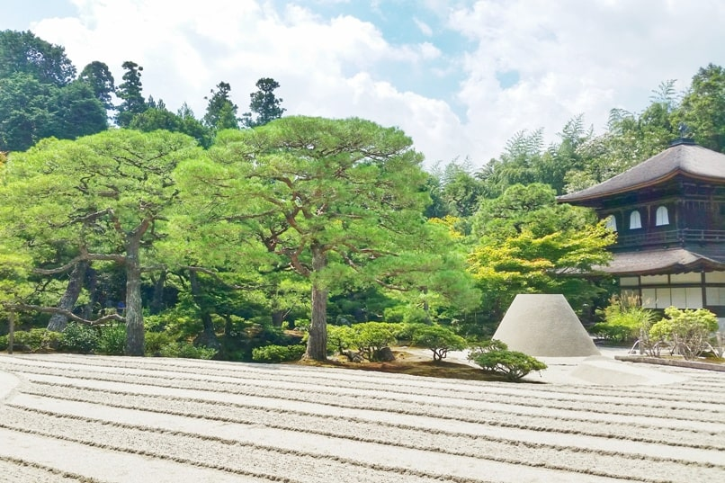 Best UNESCO world heritage sites to visit in Kyoto. Ryoanji Temple. Ginkakuji Temple. Japanese sand garden. Mt Fuji symbol. Backpacking Japan