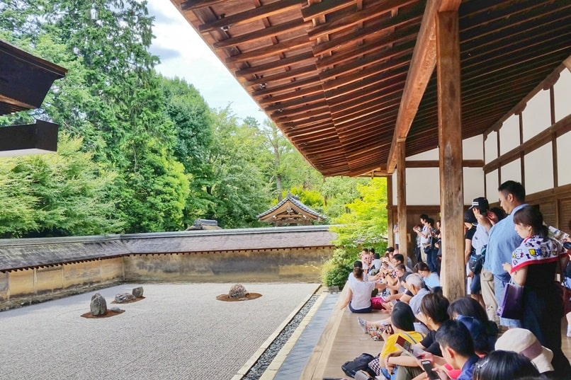 Best UNESCO world heritage sites to visit in Kyoto. Ryoanji Temple. Zen Temple rock garden. Backpacking Japan
