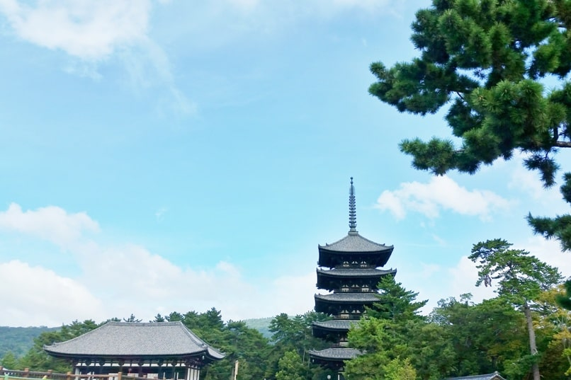 Best UNESCO world heritage sites to visit in Nara. Kofukuji temple and pagoda. Backpacking Japan