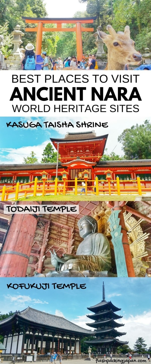 Best places to visit in Nara. List of best UNESCO world heritage in ancient Nara. Backpacking Japan