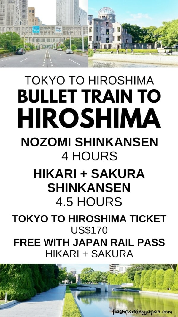 Tokyo to Hiroshima shinkansen bullet train: Nozomi, Hikari, Sakura. With JR pass. How much does it cost? How much time? Japan rail train ticket price. Backpacking Japan itinerary.