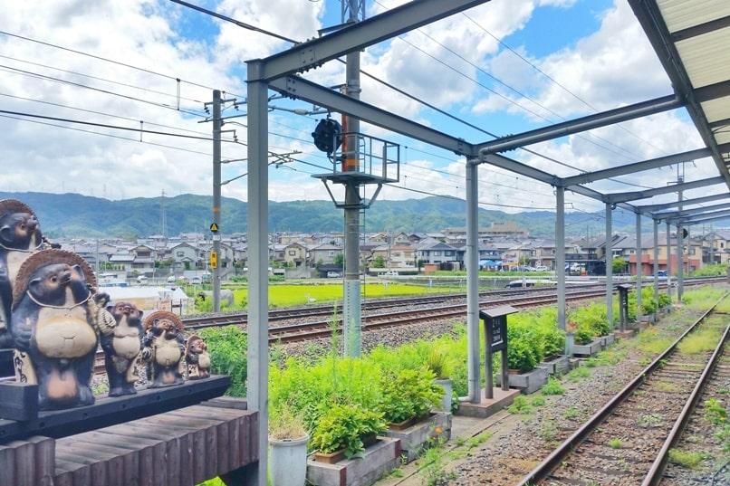 Arashiyama torokko station - sagano scenic railway train from kameoka torokko station. One day in Arashiyama Sagano. Backpacking Kyoto Japan
