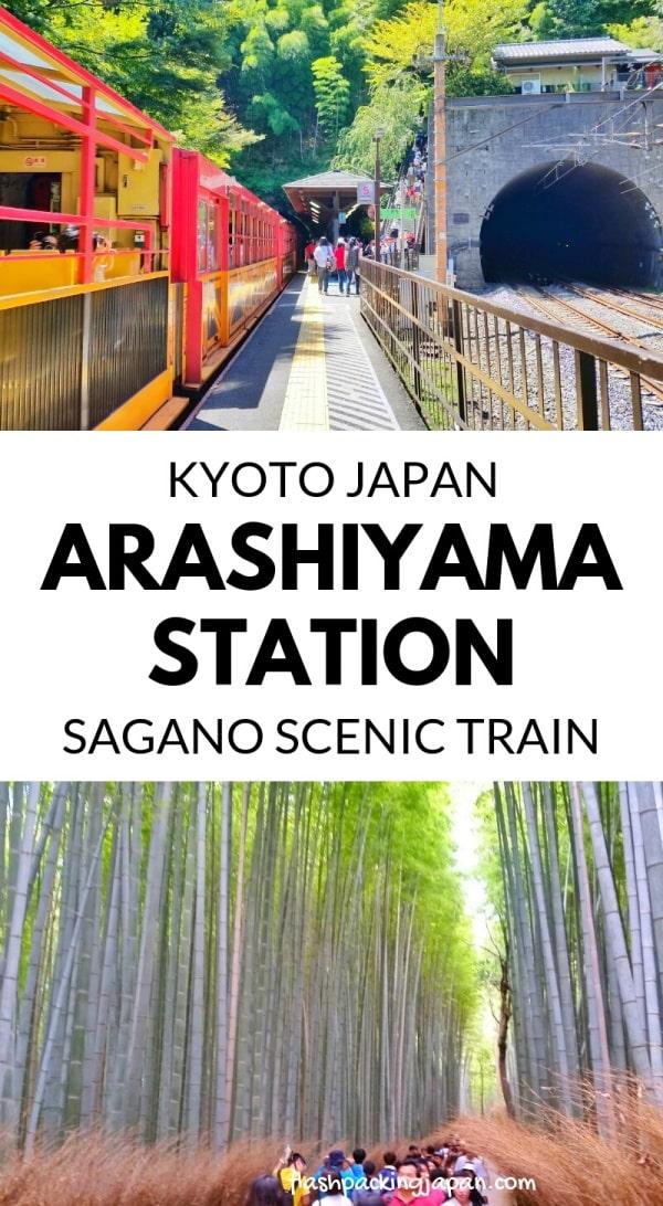 Arashiyama torokko station for Sagano scenic train, from Saga-Arashiyama JR train from Kyoto station. One day in Arashiyama Sagano. Backpacking Kyoto Japan travel blog