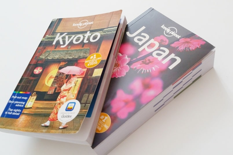 Best Japan travel guidebooks: Lonely Planet Japan and Lonely Planet Kyoto city guide book with PDF. (There's a Lonely Planet Tokyo city guide too.) Backpacking Japan