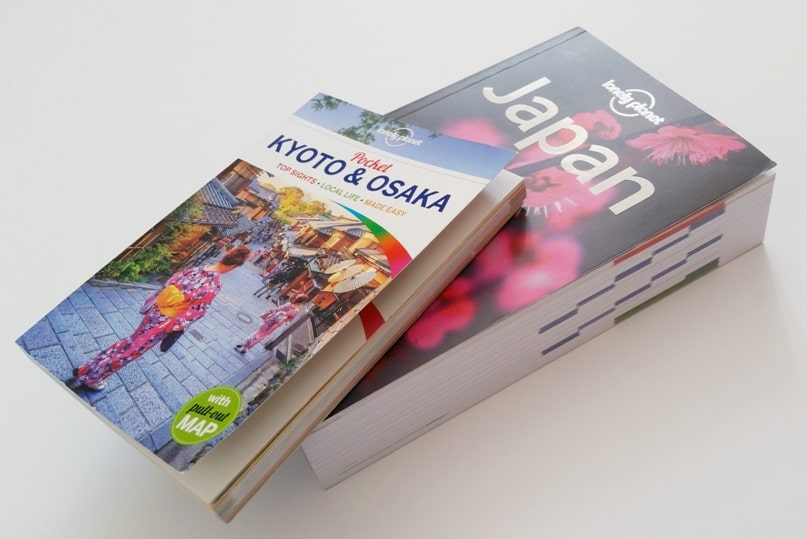 Best Japan travel guidebooks: Lonely Planet Japan and pocket guide book for Kyoto and Osaka with PDF. (There's a Lonely Planet Tokyo pocket city guide too.) Backpacking Japan