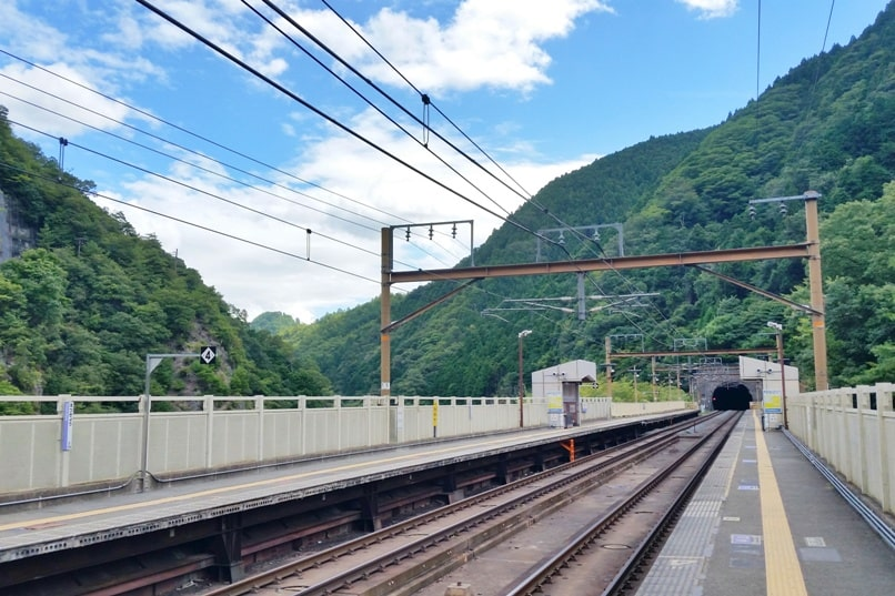 Hozukyo JR train station. One day in Arashiyama and Sagano. Backpacking Kyoto Japan