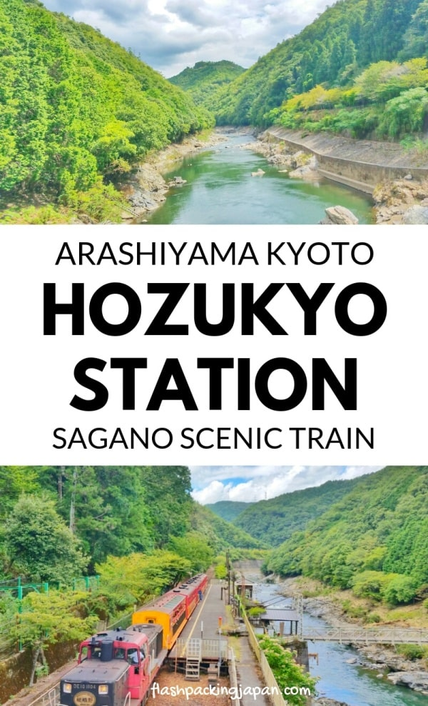Hozukyo torokko station. Sagano scenic railway on romantic train. One day in Arashiyama and Sagano. Backpacking Kyoto Japan travel blog