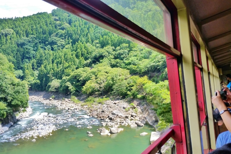 Hozukyo station to sagano scenic railway romantic train on hozugawa river. One day in Arashiyama and Sagano. Backpacking Kyoto Japan