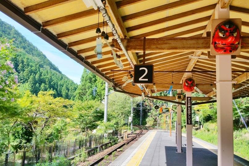 Kyoto to Kurama train station tengu. Backpacking Kyoto Japan