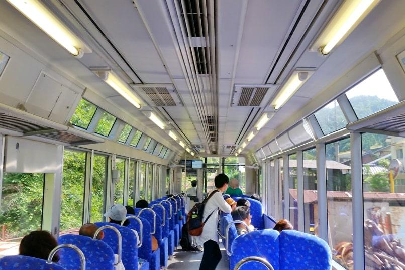 Kyoto to Kurama train seating. Backpacking Kyoto Japan