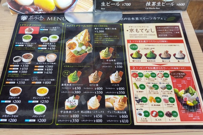 Visit to Nijo Castle. Cafe menu with food prices. Backpacking Kyoto Japan