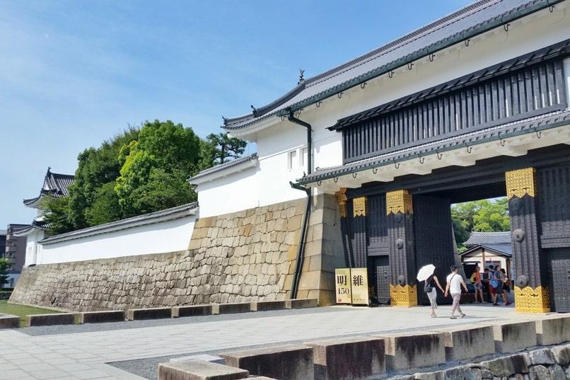 Visit to Nijo Castle. Higashi Ote-mon gate - main entry. Backpacking Kyoto Japan