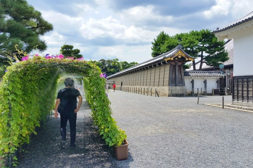 Visit to Nijo Castle. Summer hot weather in July and August with mist. Backpacking Kyoto Japan