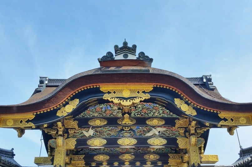Visit to Nijo Castle. Kara-mon gate. Backpacking Kyoto Japan