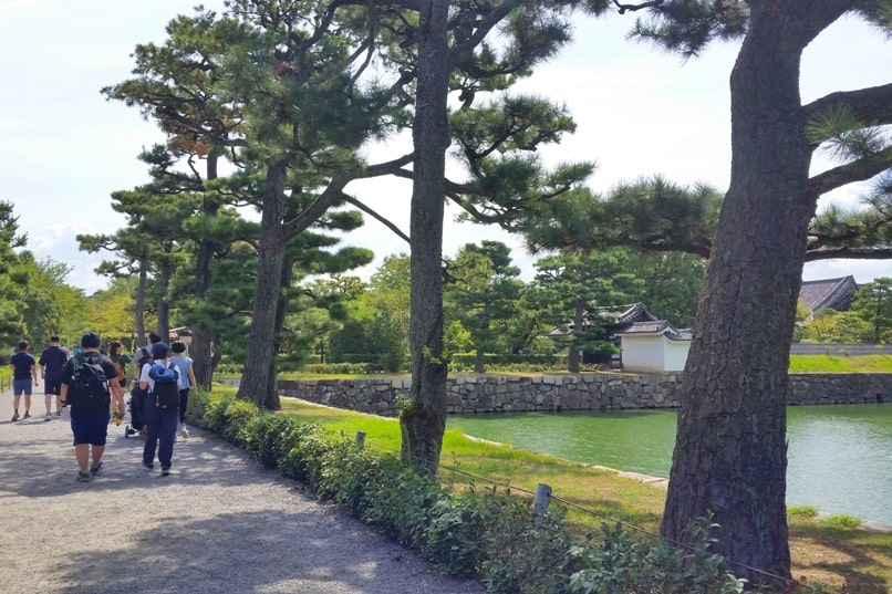 Nijo Castle Teahouse, Kyoto. Walking path along moat near teahouse. Backpacking Kyoto Japan