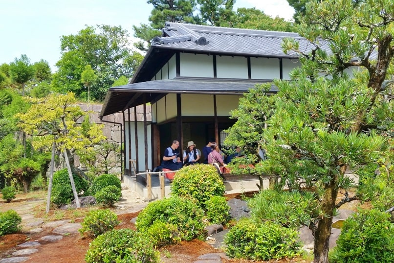 Nijo Castle Teahouse, Kyoto. Drinking matcha green tea at teahouse. Backpacking Kyoto Japan