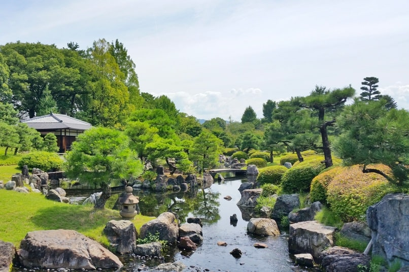Nijo Castle Teahouse, Kyoto. Garden near teahouse. Backpacking Kyoto Japan