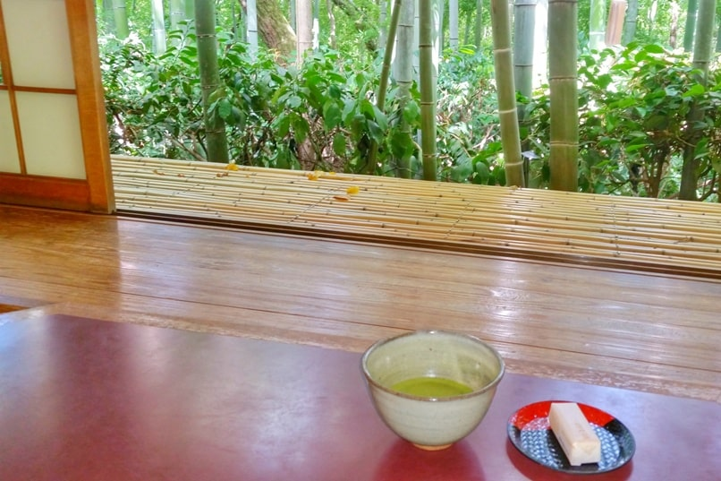Okochi sanso villa garden teahouse visit next to bamboo grove forest. Green tea matcha and Japanese sweets. One day in Arashiyama and Sagano. Backpacking Kyoto Japan