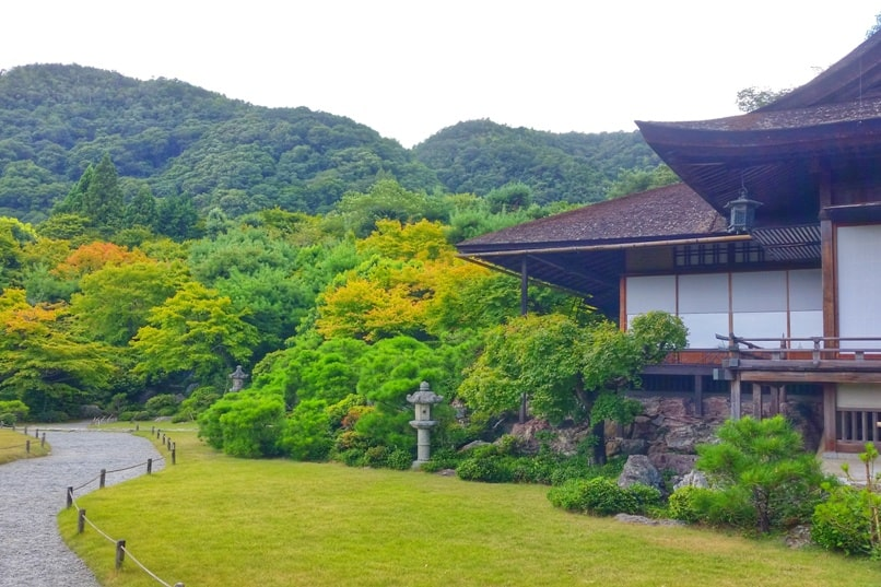 Okochi sanso teahouse with visit to villa Japanese gardens - walking path with mountain views. One day in Arashiyama and Sagano. Backpacking Kyoto Japan
