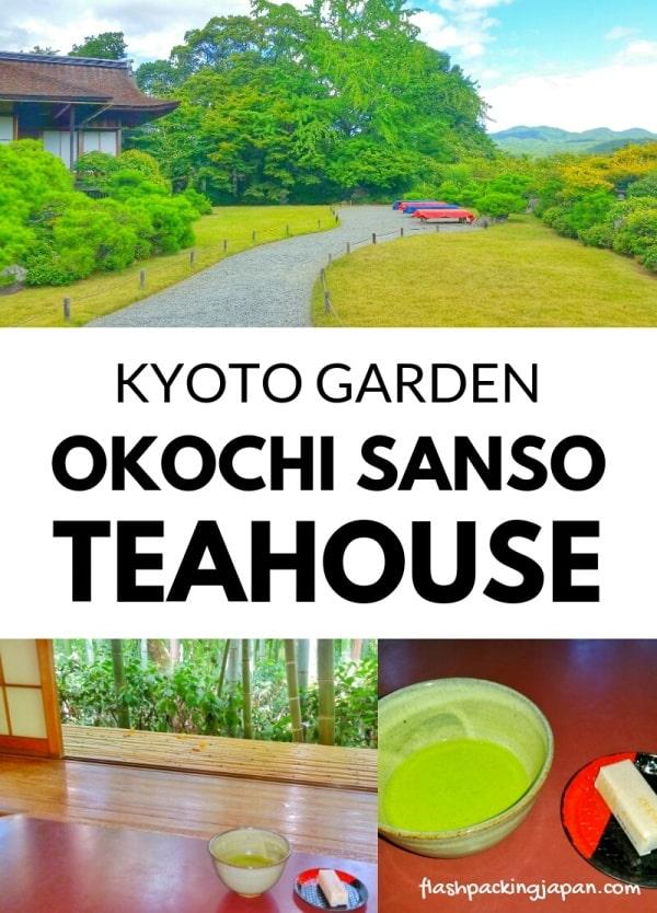 Okochi sanso villa garden, Kyoto teahouse visit with matcha green tea and Japanese sweets and snacks. One day in Arashiyama and Sagano. Backpacking Kyoto Japan