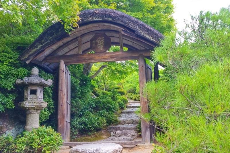 Okochi sanso villa gardens walking trail. One day in Arashiyama Sagano. Backpacking Kyoto Japan