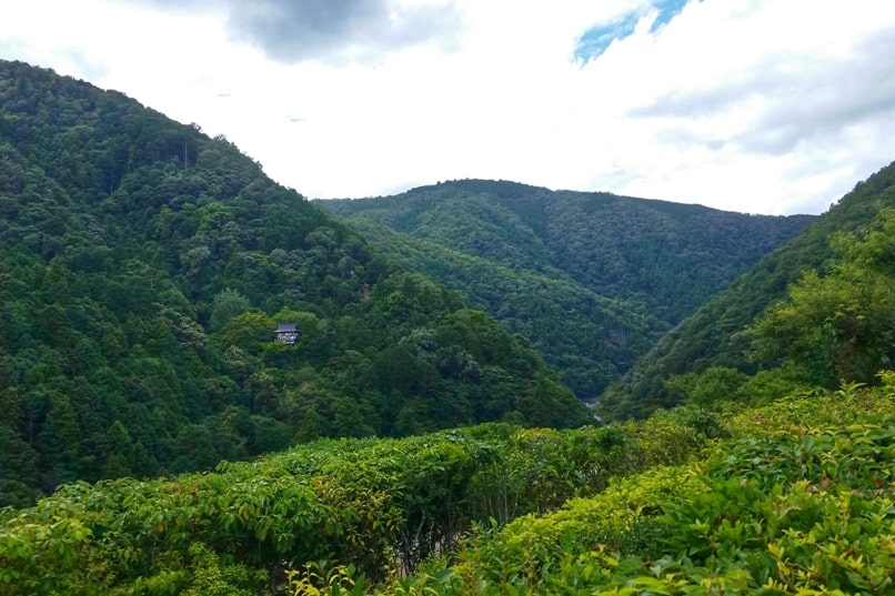 Okochi sanso villa gardens walking nature trail with mountain views. One day in Arashiyama Sagano. Backpacking Kyoto Japan