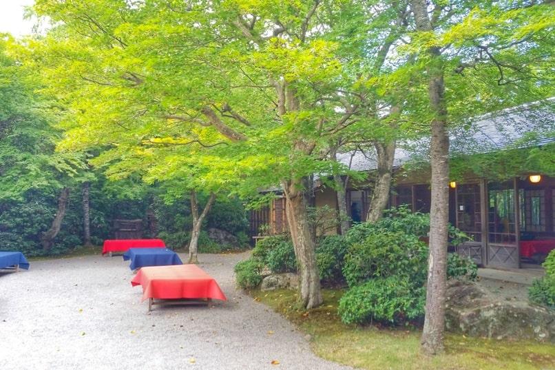 Okochi sanso villa gardens teahouse. One day in Arashiyama Sagano. Backpacking Kyoto Japan