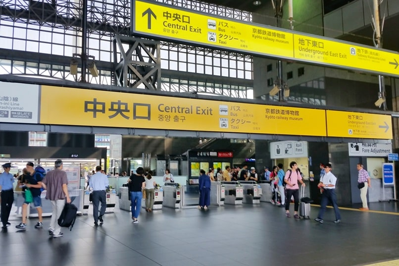 One day in Kyoto with bus pass: Kyoto station to bus stand - central exit at train station. Backpacking Kyoto Japan