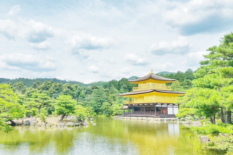 One day in Kyoto with bus pass: Visit to Kinkakuji temple - golden temple pavilion. Backpacking Kyoto Japan