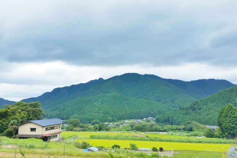Sanzen-in Temple, Ohara village, Kyoto. Mountain views of rural village on walk to sanzenin temple. Backpacking Japan