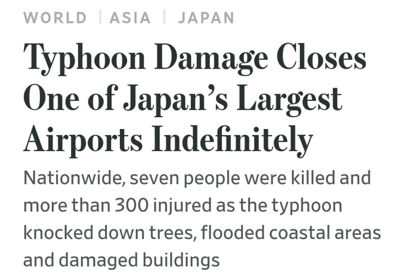 Travel insurance for Japan: Natural disaster coverage. Typhoon at Japan airport to cause closed airport, train cancellations, flight cancellations and delays. Backpacking Japan Asia