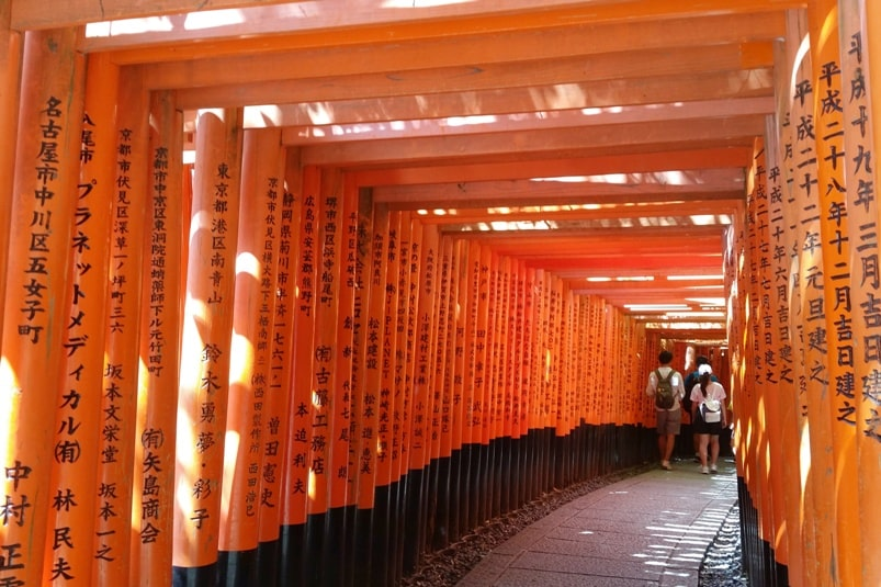 5 days in Kyoto itinerary. Best places to visit in Kyoto in 5 days - fushimi inari shrine hike through torii gates. Backpacking Kyoto travel blog. Kyoto travel guide.