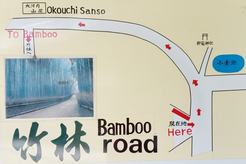 Arashiyama bamboo forest to Arashiyama torokko station - Kyoto tourist map. One day in Arashiyama and Sagano. Backpacking Japan