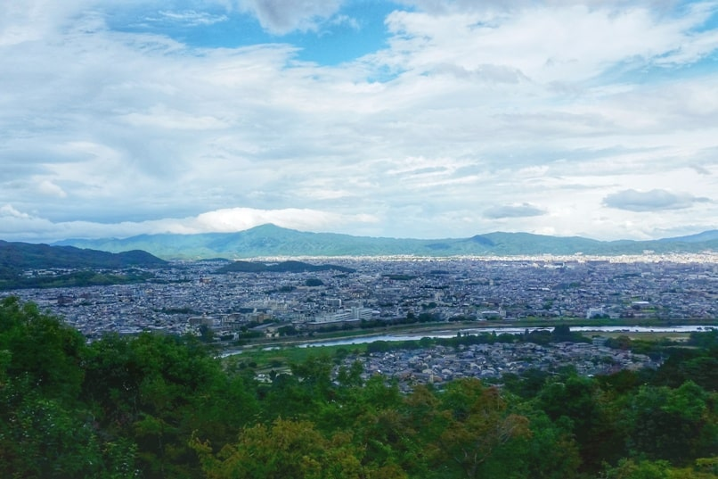 Arashiyama monkey park hiking trail summit with Kyoto city views. One day in Arashiyama and Sagano, Kyoto. Backpacking Japan