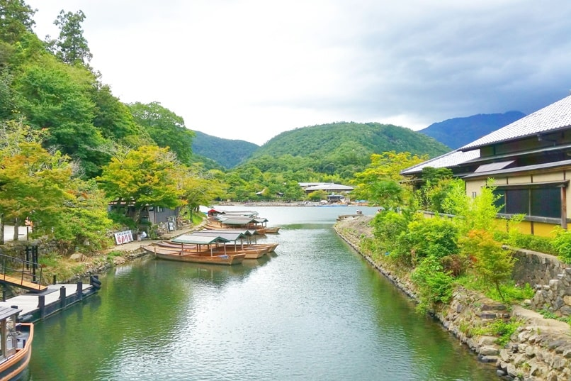 Arashiyama monkey park from Togetsukyo bridge, Kyoto. One day in Arashiyama and Sagano. Backpacking Japan