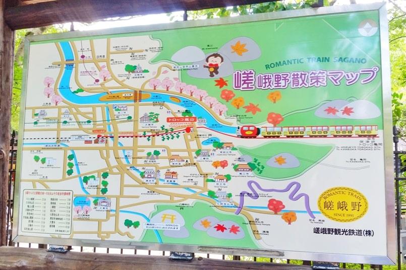 Arashiyama tourist map. How to get around Arashiyama, Kyoto. Backpacking Japan