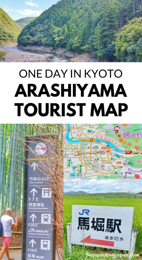 Arashiyama tourist map. Best things to do in Arashiyama and Sagano in one day Kyoto itinerary ideas. Backpacking Japan travel blog