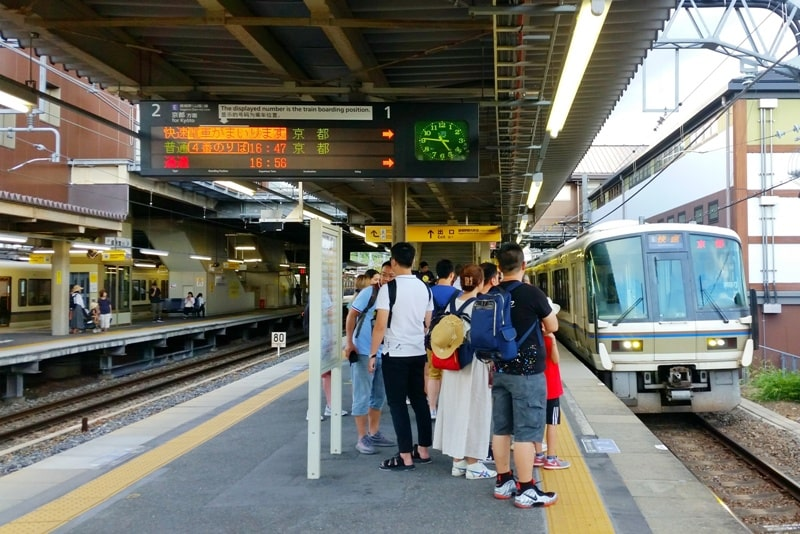 Arashiyama tourist map. Kyoto station to Arashiyama with JR pass on JR train. Backpacking Japan